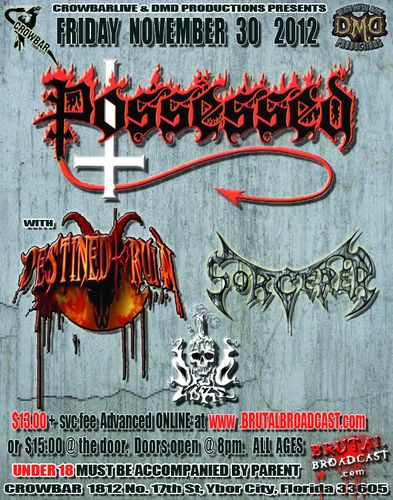 Possessed and Druid Lord concert at Tampa Florida november 30th 2012