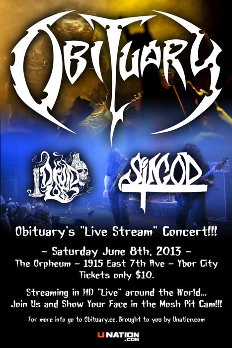 Druid Lord will support Obituary in Tampa, Florida on June 8th 2013